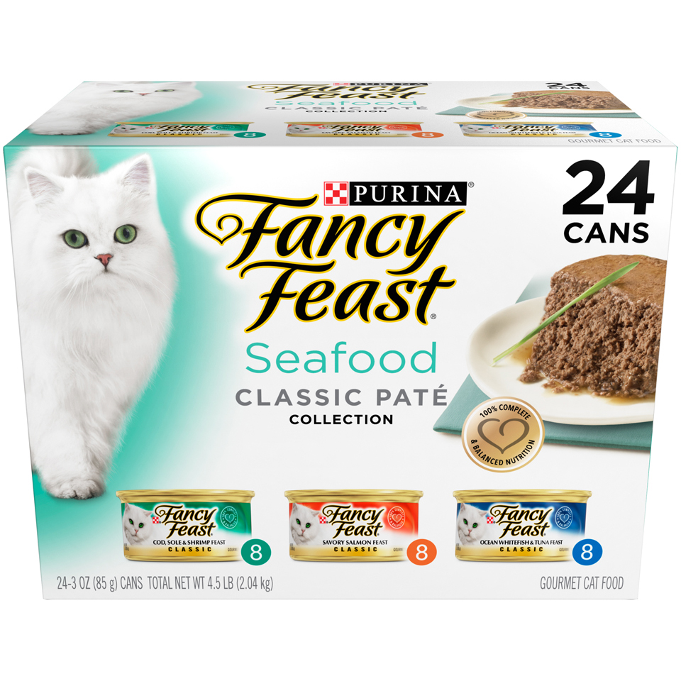 Purina Fancy Feast Seafood Classic Pate Wet Cat Food Variety Pack - (24) 3 oz. Cans
