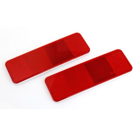 Unique Bargains 2 Pcs Car Red Plastic Rectangle Shape Reflective Stickers Decal Red 15 x 5cm