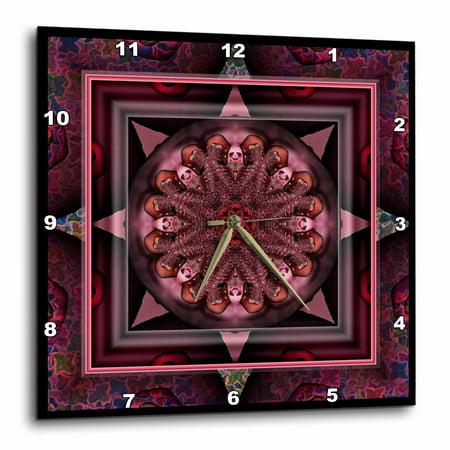 3dRose MANDALA 10 chakra purple pink black flowerpower hippie india orient oriental meditate peace harmony, Wall Clock, 13 by 13-inch