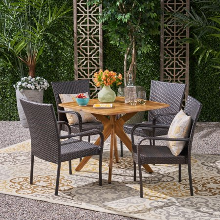 Orlando Outdoor 5 Piece Wood and Wicker Dining Set, Teak, Multi Brown ()