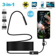 USB Snake Inspection Camera, TSV 0.3 MP IP67 Waterproof USB/Micro USB Borescope,Type-C Scope Camera with 6 Adjustable LED Lights fits for (6.5ft) Samsung Galaxy S20/10/9, Windows & MacBook OS Computer