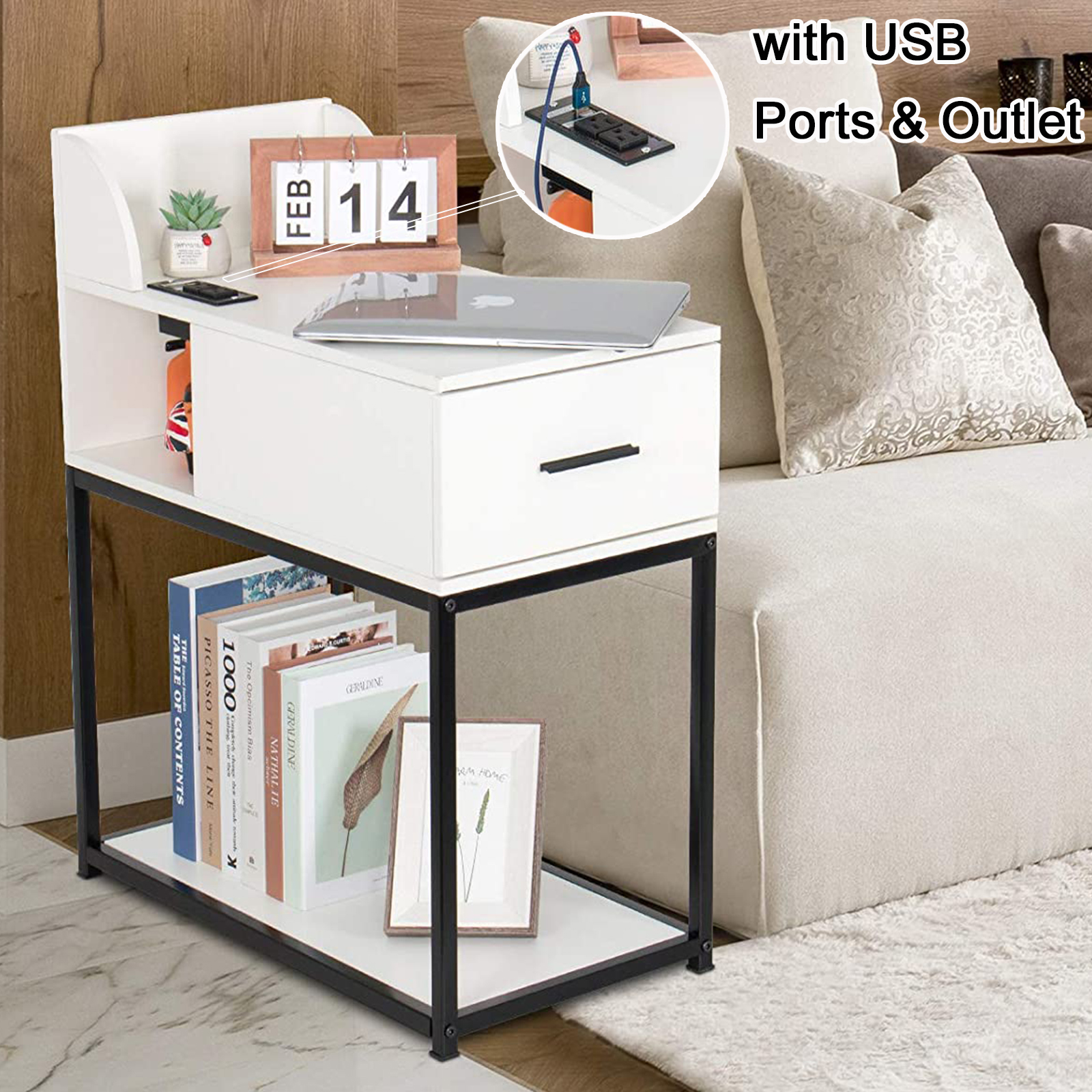White End Table Nightstand Slim Side Table Narrow Bedside Table With Usb Port For Sofa Couch Living Room Bedroom Farmhouse Storage Small Tall Bed Side Table Night Stand Modern Mid Century Walmart Com Walmart Com