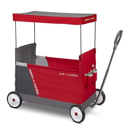 Radio Flyer Kid & Cargo Folding Wagon with 2 Versatile Seats and Canopy, Red ()