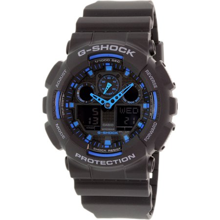 Fashion Quartz Watch - Men's G-Shock GA100-1A2 Black Resin Quartz Fashion Watch