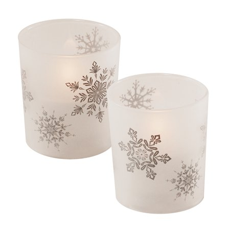 Lumabase 2-Piece-Battery Operated Candles in Glass Holders, Snowflake