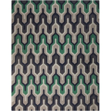 - 9' x 13' Lucky Wishbone Emerald Green, Taupe and Gray Polyester Area Throw Rug