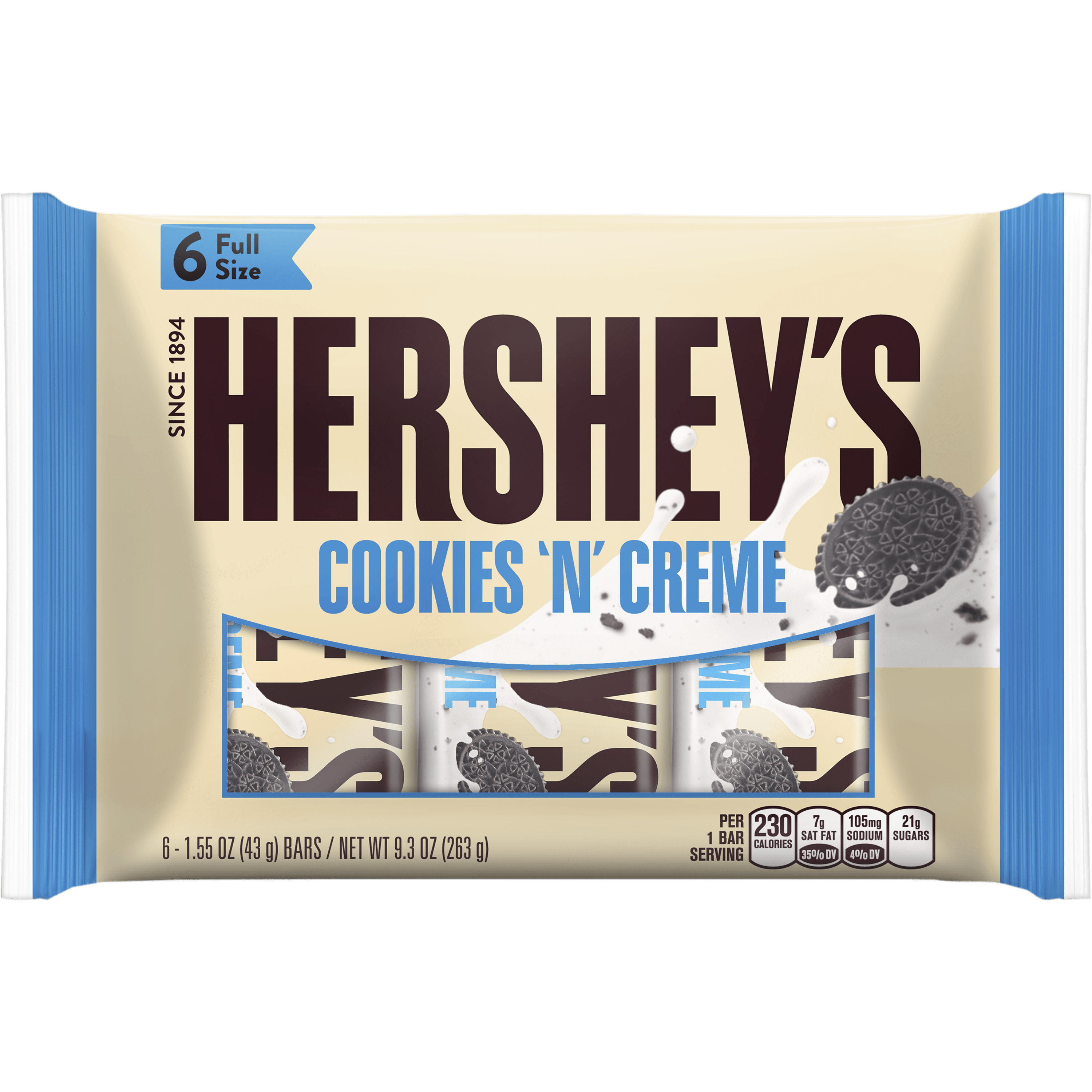 HERSHEY'S Cookies 'n' Creme Bars, 6 Count, 9.3 Ounces