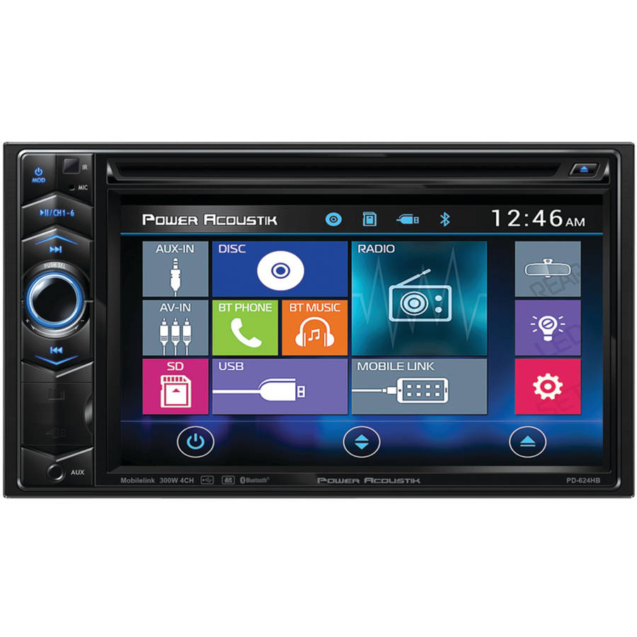 "Power Acoustik PD 624HB 6.2"" Double DIN In-Dash LCD Touchscreen DVD Receiver with Bluetooth and MHL MobileLink X1"
