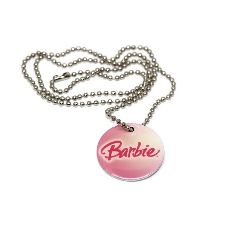 BRACCIALE MATTEL CLASSIC VINTAGE BARBIE PINK ROUND TAG CHAIN FASHION NECKLACE