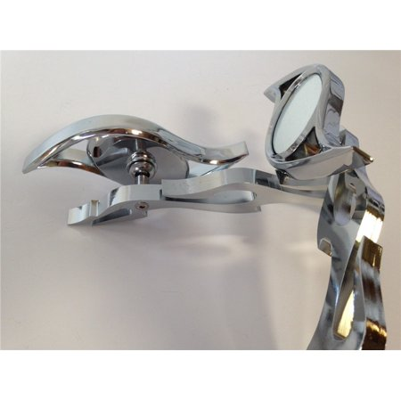 HTT-MOTOR Chrome Billet Running Mirror fit for Honda suzuki kawasaki yamaha Flame shaft Chrome Billet Flame Mirrors