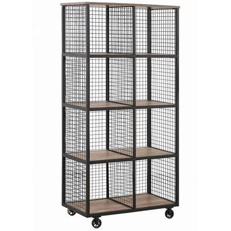 Coaster Weathered Taupe and Black Bookcase (Sectional Mobile Cubby)