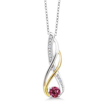 925 Silver and 10K Yellow Diamond Pendant 0.28 Ct Round Pink Tourmaline