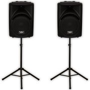 """Podium Pro PP1204CA Powered 12"""" Active 1200W MP3 Speaker Pair and Stands DJ PP1204CASET1"""