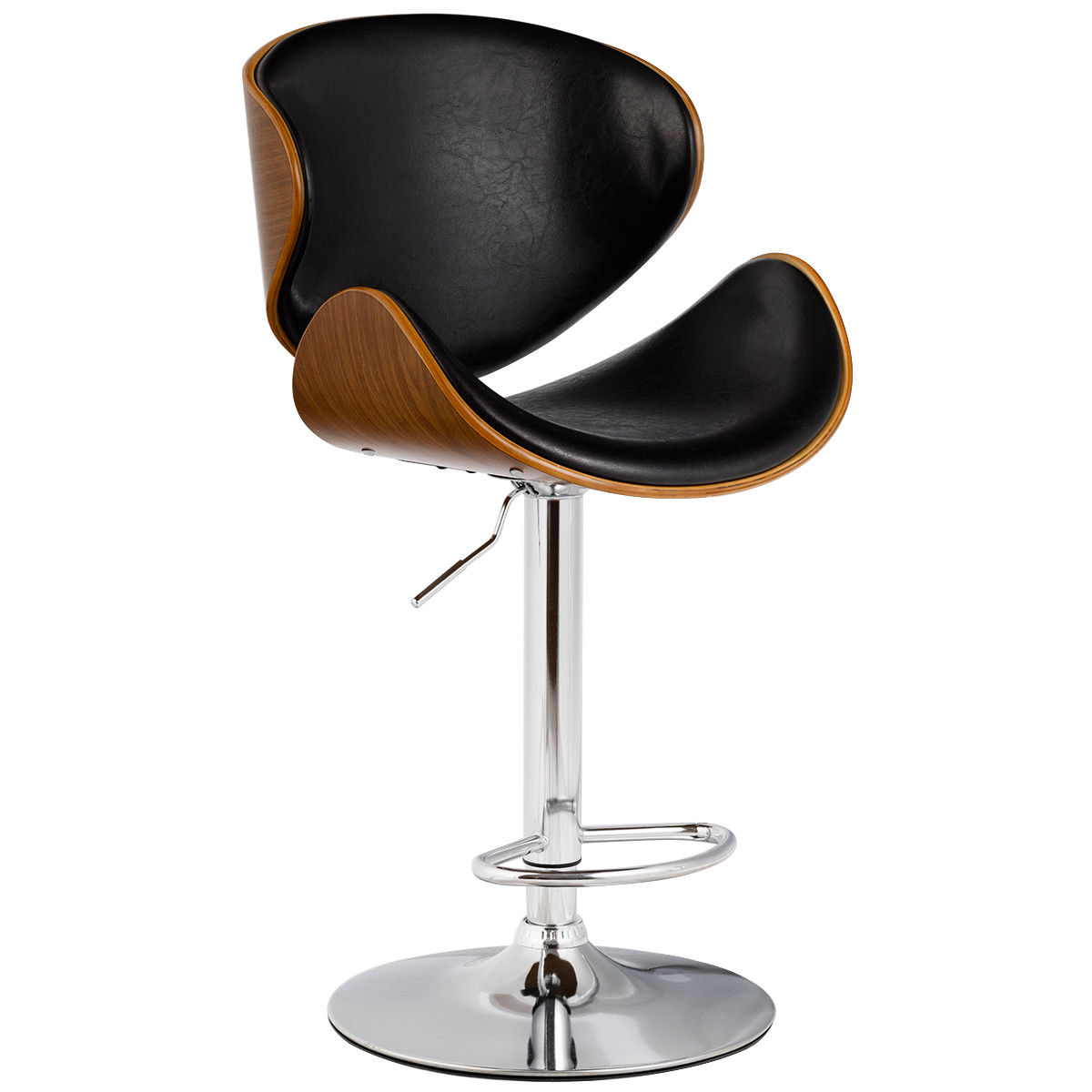 Costway 1PC Adjustable Swivel Bentwood Bar Stool PU Leather Modern Bar Stool Pub Chair by Costway