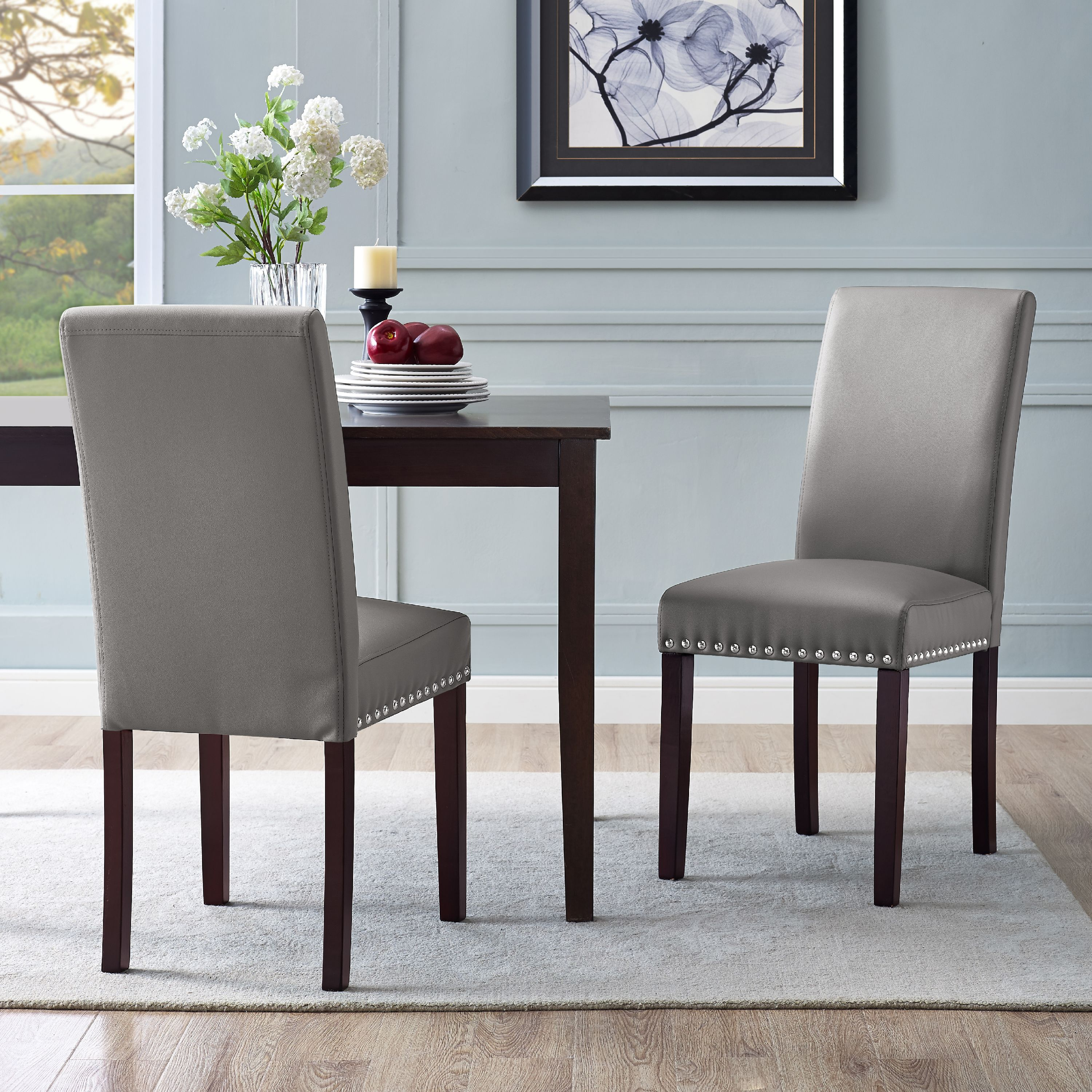 Dhi Nice Nail Head Faux Leather Dining Chair 2 Pack