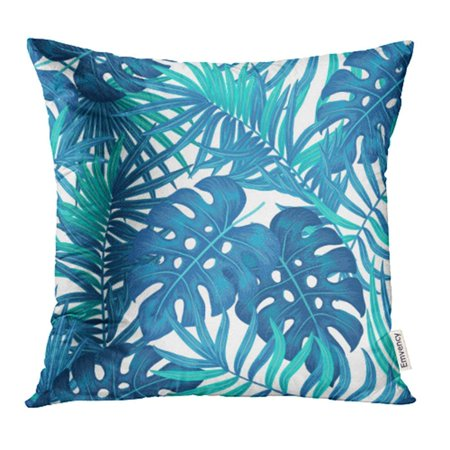 ARHOME Blue Summer Hawaiian with Exotic Tropical Plants Palm Tree Monstera Leaves Colorful Pillowcase Cushion Cases 20x20 inch