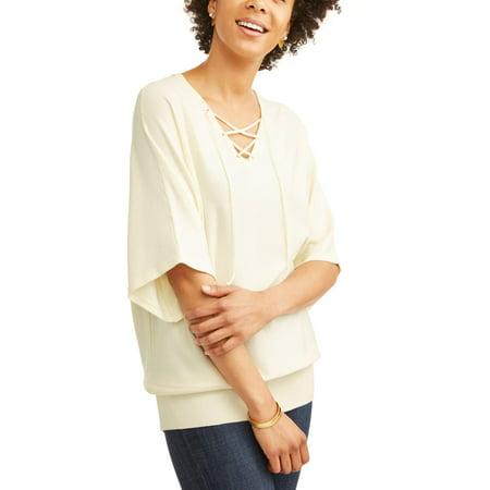 Women's Lace Up Dolman Sleeve Sweater