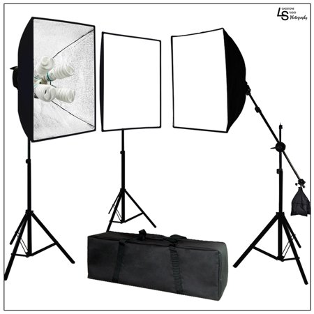 Head Studio Kit (Loadstone Studio Photo Video Studio 2400 Watt Softbox Continuous Light Kit with Overhead Head Light Boom Kit, 2 x Softbox Light Kit, 1 x Softbox Light Kit on Boom Kit, WMLS1423 )