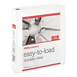 "Office Depot® Brand Heavy-Duty Easy-To-Load Slant D-Ring View Binder, 1 1/2"" Rings, 56% Recycled, White"