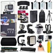 GoPro Hero 4 HERO4 Black CHDHX-401 with 96GB Memory + 3x Batteries + Travel Charger + Backpack + 60? Tripod + Head/Chest Strap + Suction Cup + Hand Glove + LED Light + Stabilizer + Case + More!