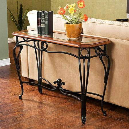 Abeerdan Traditional Sofa Table, Dark Cherry, Metal & Glass Modern Oak Sofa Table