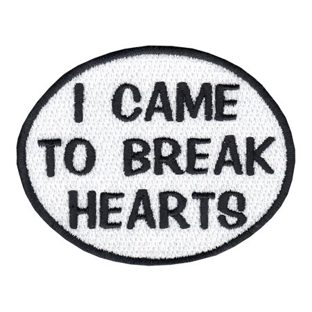 - I Came To Break Hearts Oval Iron On Applique Patch