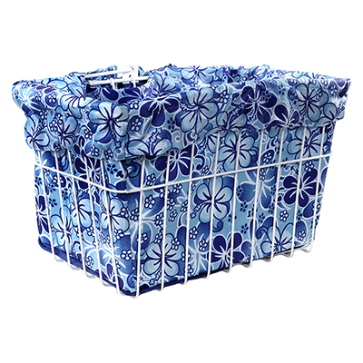 Cruiser Candy Reversible Bike Basket Liner, Fits All Standard Wire and Wicker Baskets (14x9x9in), Blue Hawaiian