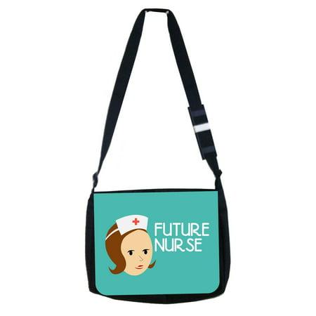 Future Nurse - Black Laptop Shoulder Messenger Bag and Small Wire Accessories Case - Nurse Purse
