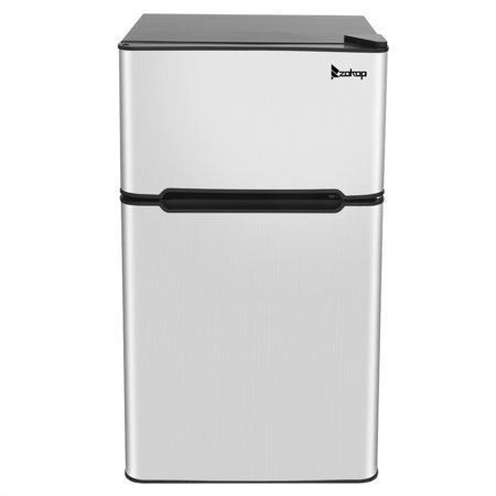 Mini Fridge, Low Noise Dorm Refrigerator with freezer, 2 Door Beverage Refrigerator with Capacity of 90L/3.2CU.FT for Kitchens, Small Apartments, Mini Bars, Offices, Tiny Homes, Cabins and RVs, Q1002