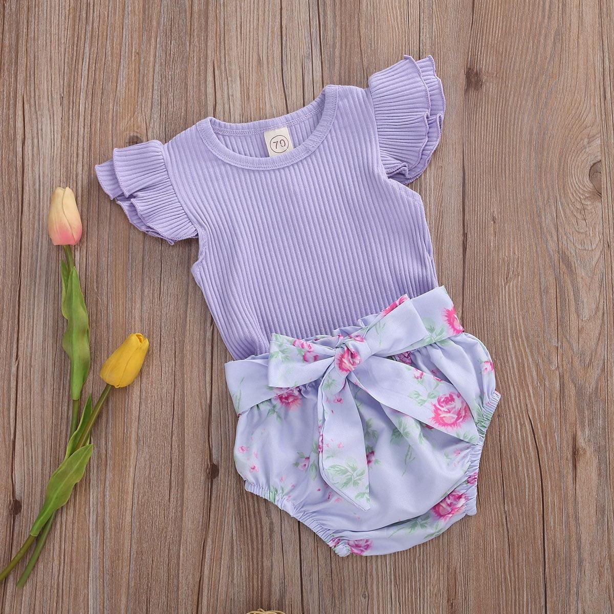 De feuilles Baby Girl Ruffle Short Sleeve Romper Bodysuit Onesies Summer Outfit Tops