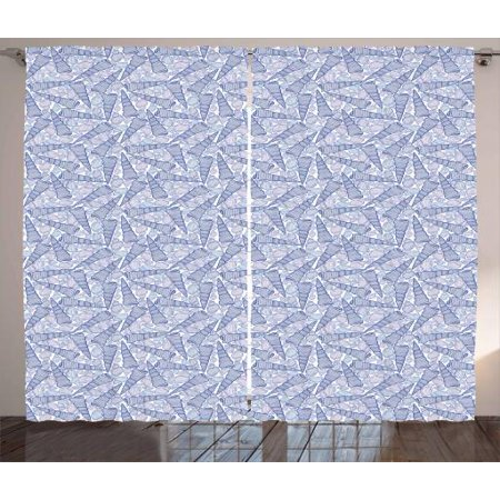 Shells Curtains 2 Panels Set, Hand Drawn Aquatic Colors of Purple Auger and Florida Cone Figures, Window Drapes for Living Room Bedroom, 108W X 84L Inches, Night Blue and Cobalt - Cobalt Blue Curtains