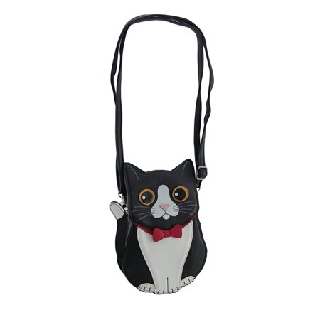 Kitten Cat Purse - Classy Kitten Black Tuxedo Cat Crossbody Purse with Removable Strap