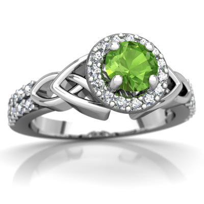 Peridot Celtic Knot Halo Ring in 14K White Gold by