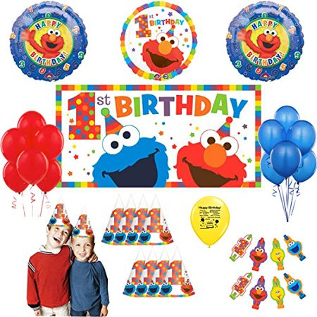 Sesame Street First Birthday Elmo and Cookie Monster Party Supply Balloon and Photo Prop Selfie Kit
