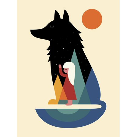 Best Friend Graphic Minimal Urban Hipster Wolf and Girl Illustration Print Wall Art By Andy (Terry Redlin Best Friends Print)
