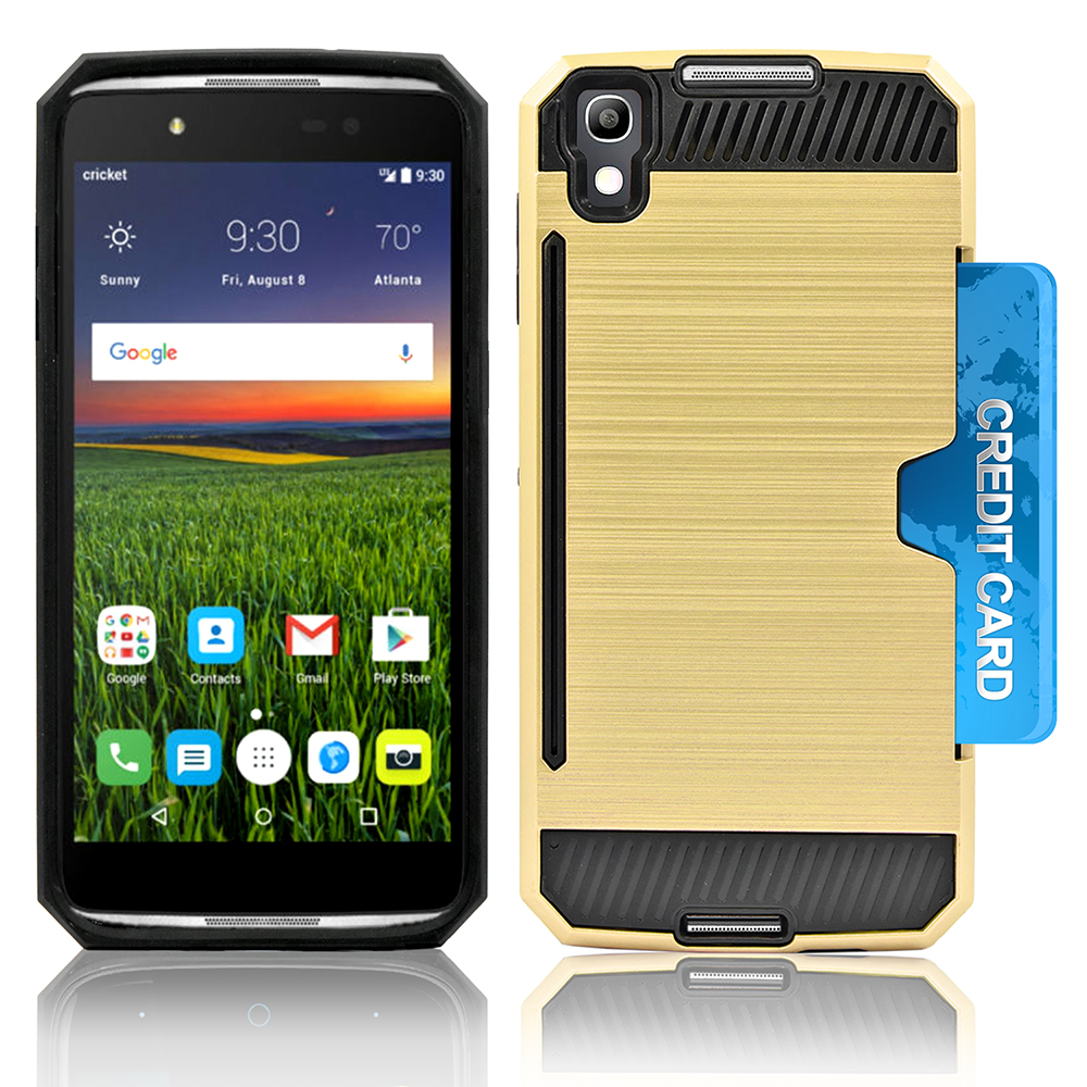 Alcatel OneTouch iDOL 4; Nitro 49; 6055 Slim PC Metal Brushed Protective Credit Card Slot Case Cover Case Cover Black