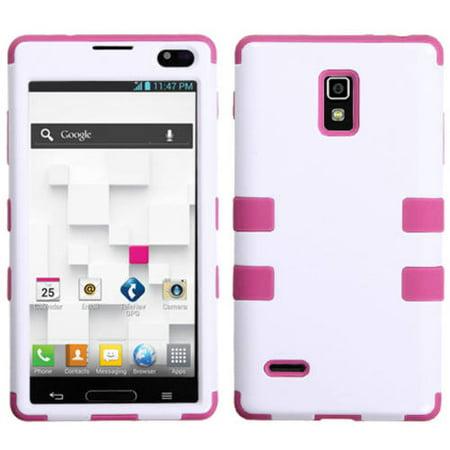 LG P769 Optimus L9 MyBat TUFF Hybrid Protector Case, Ivory White/Hot (Motorola Mobile L9)