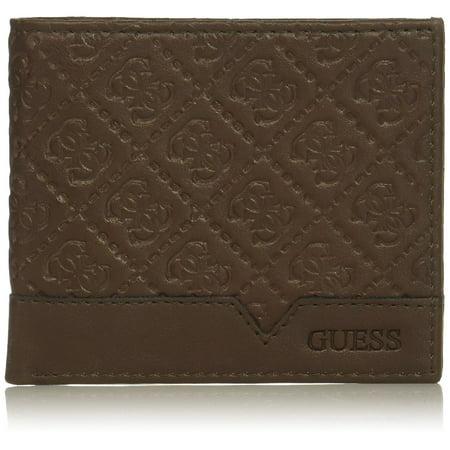 Guess by Marciano Men's Leather Billfold Zipper Coin Pocket Wallet 31GU130027 (Brown) (Brown Leather Billfold Wallet)