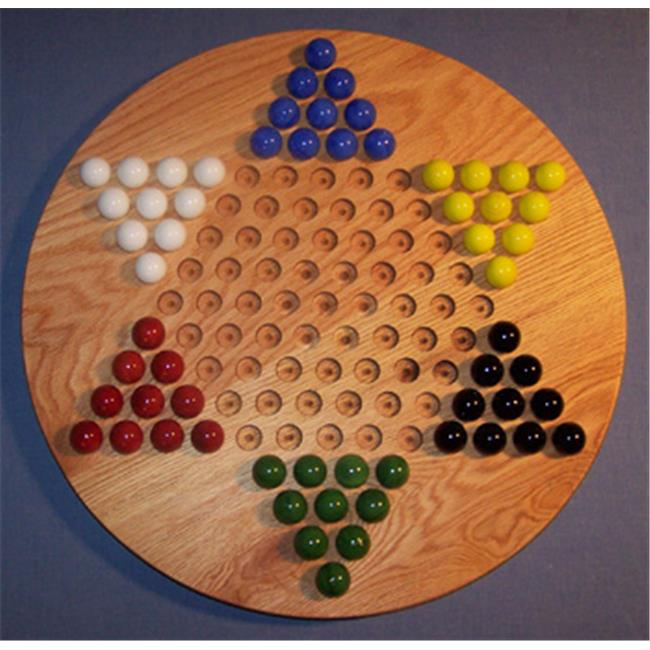 THE PUZZLE-MAN TOYS W-1925 Wooden Marble Game Board - Chinese Checkers  Oiled 18 in. Circle - Red Oak