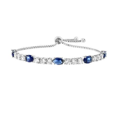 Blue & Clear Cubic Zirconia Slider Bracelet - Blue Glow Bracelets