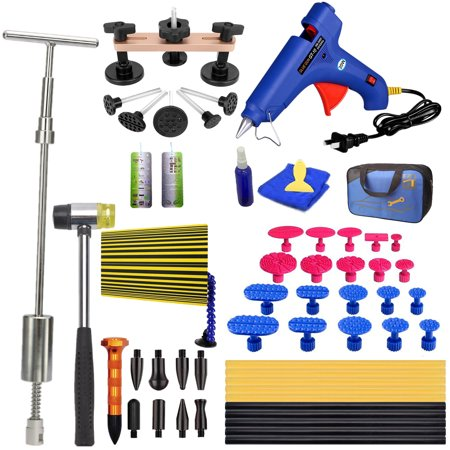 Auto Body Paintless Dent Removal Tools Pops a 2-in-1 Slide Hammer Glue Gun Dent Puller Kits For Car Hail Damage Car Door Dings (Best Car Dent Removal Tool)