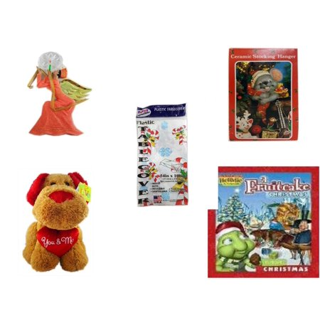 Christmas Fun Gift Bundle [5 Piece] - Egyptian Pharaoh Angel Ornament - Vintage Designed Stocking Hanger Mouse - Party Expressions Plastic Table cover 54
