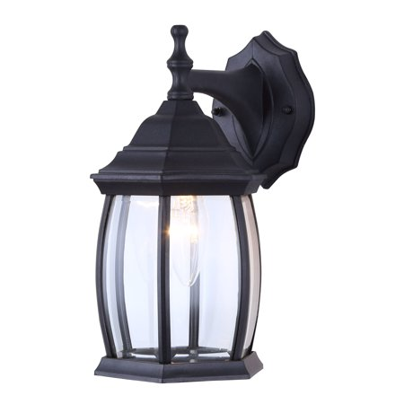 One Light Outdoor Exterior Lantern Light Fixture Wall Mount Sconce, Textured Black ()