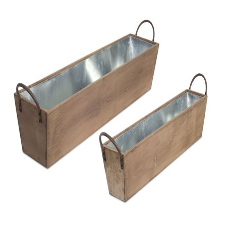 """Set of 2 Brown and Gray Rectangular Tray with Metal Liner and Handle 33"""""""