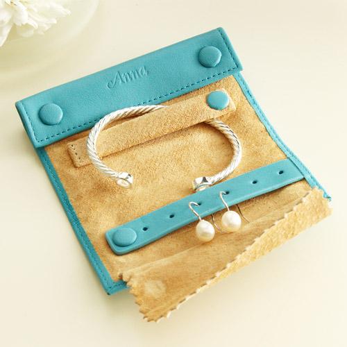 Personalized Mini Jewelry Roll, Blue