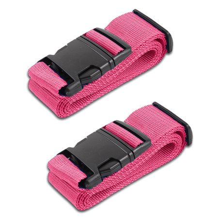 HeroFiber Pink Luggage Belts Suitcase Straps Adjustable and Durable, Travel Case Accessories, 2 Pack 2 Travel Cases