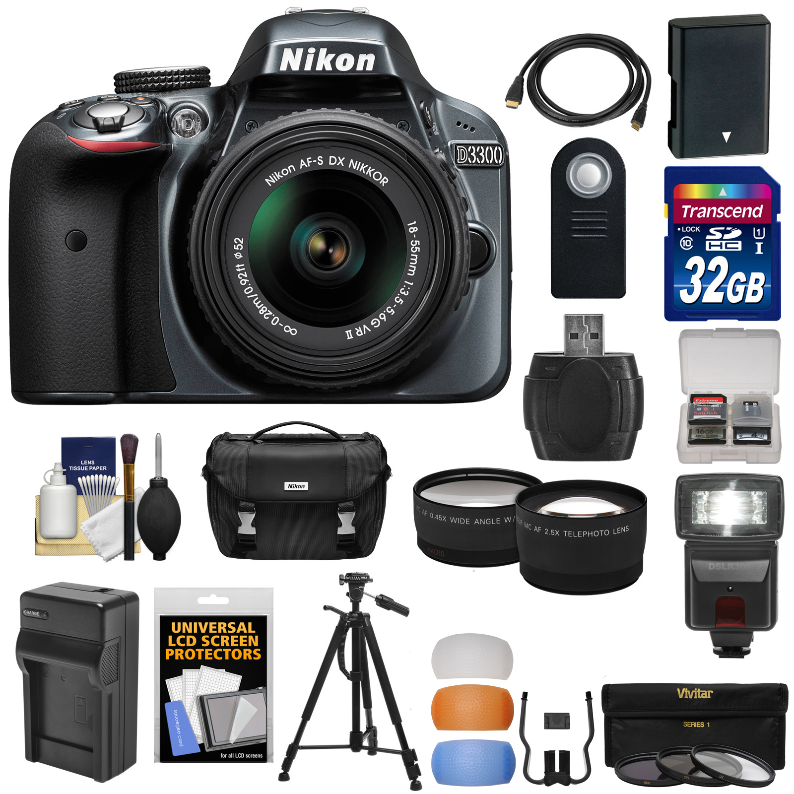 Nikon D3300 Digital SLR Camera & 18-55mm G VR DX II AF-S Zoom Lens (Grey) with 32GB Card + Battery & Charger + Case + Tripod + Flash + Tele/Wide Lens Kit