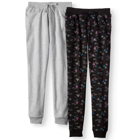 Printed and Heathered Fleece Joggers, 2-Pack (Little Girls & Big -