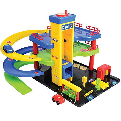 CP Toys Pretend Play Park & Play Service Garage with Three Levels and 2 Cars