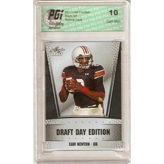 Cam Newton Leaf Draft Day Front Black Rookie Card Pgi10